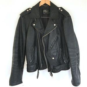 Vintage moto black leather jacket